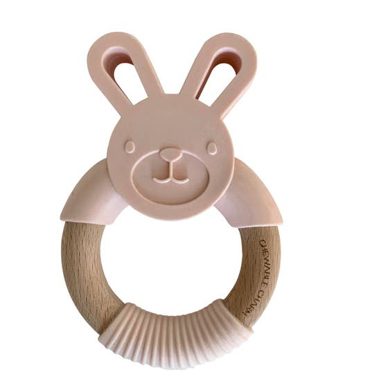 Bunny Silicone + Wood Teether - Ballet Slipper Pink