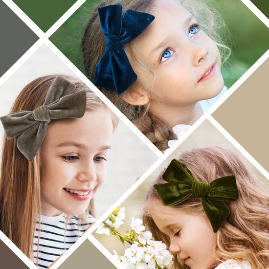 XLarge Velvet Hair Clips For Baby and Toddler Girls