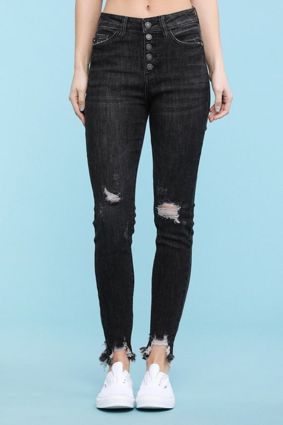Judy Blue Button fly destroy skinny in Black (dark gray)