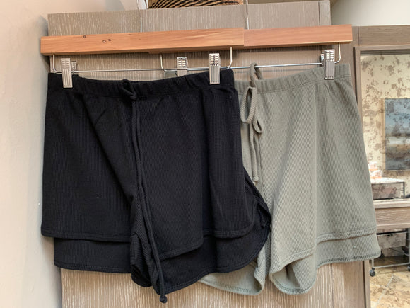 Thermal Drawstring Boyfriend Shorties - Black