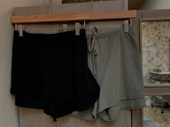 Thermal Drawstring Boyfriend Shorties - Olive