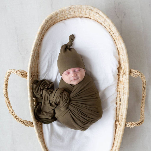 Swaddle Blanket and Newborn Baby Hat - Army Green