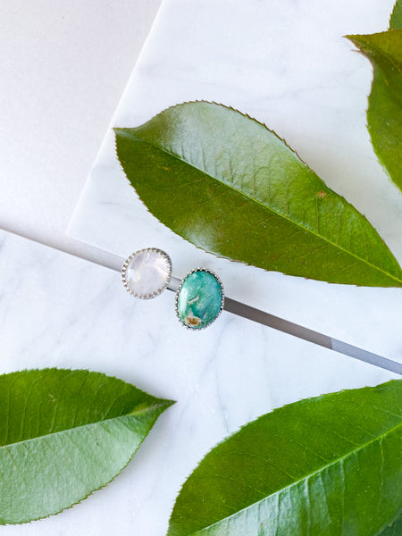 Moonstone & Turquoise Split Ring