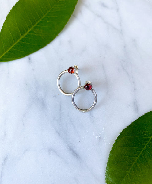 Garnet Circle Earrings