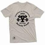 """550 LB Bench Press Milestone"" Prevailer Tee"