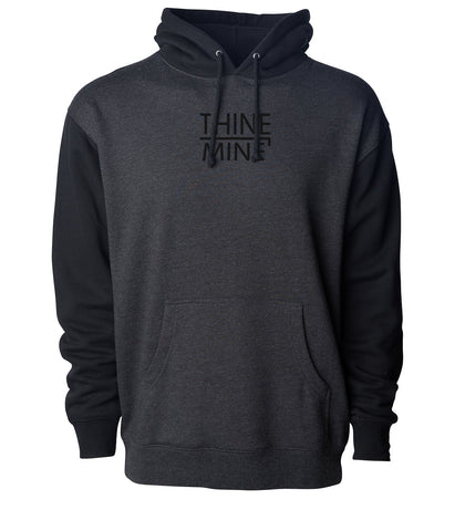 """Thine¬Mine"" Embroidered Hooded Sweatshirt"