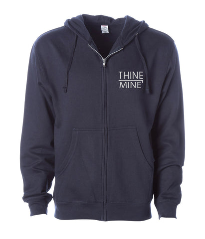 """Thine¬Mine"" Embroidered Midweight Zip Hooded Sweatshirt"