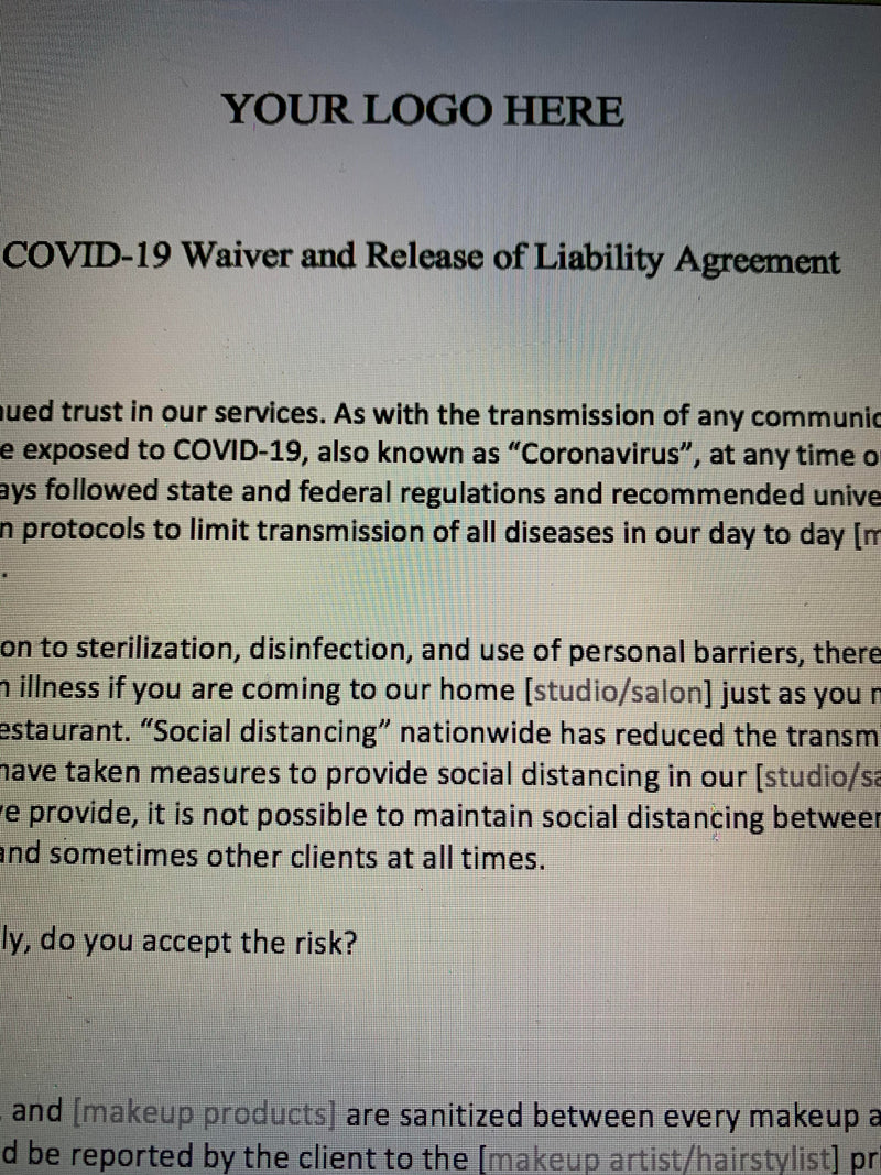 COVID-19 Waiver & Release of Liability Agreement for Makeup Artists, Hairstylists, and Wardrobe Stylists