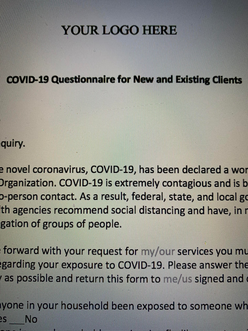 COVID-19 Questionnaire for New & Existing Clients