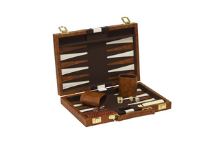 "Backgammon - 11"" folding brown vinyl set"