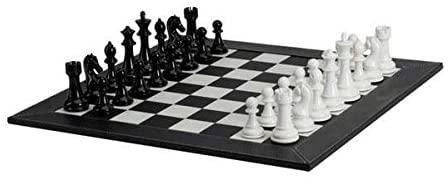 Deluxe Chess Set Blk White Leather Black White Acrylic  Pieces