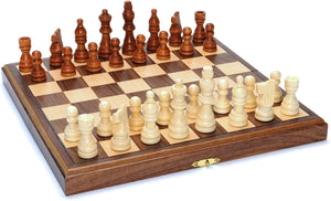 Chess Set Folding Wood 11.5""