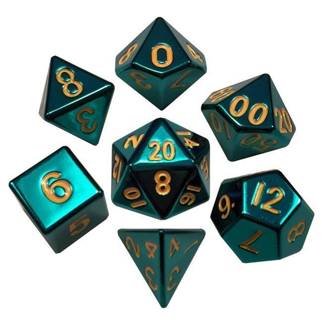 Turquoise Painted Metal 16mm 7pc Dice Set