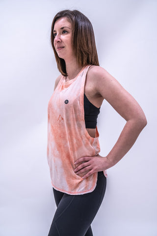 Stacey Tie-Dye Workout Vest - Coral