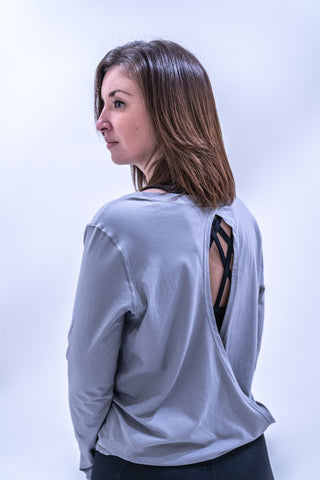 Lucinda Relaxed Yoga Top - Grey