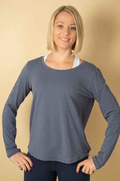 Lucinda Relaxed Yoga Top - Blue
