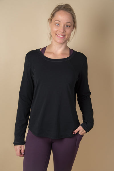 Lucinda Relaxed Yoga Top - Black