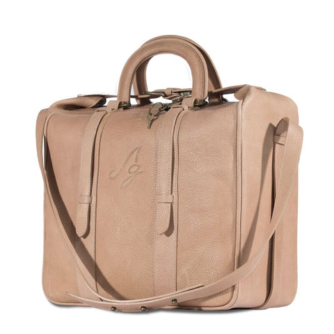 Sylvie Briefcase Tote - Tan with strap