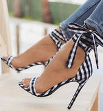 Load image into Gallery viewer, Plaid High Heel Sandals