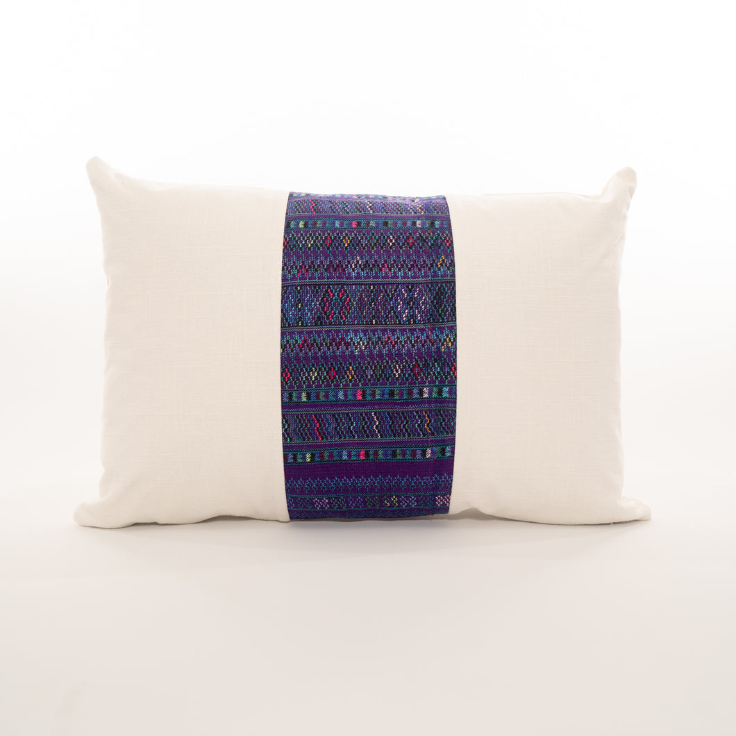 colorful pillow made from guatemalan textiles
