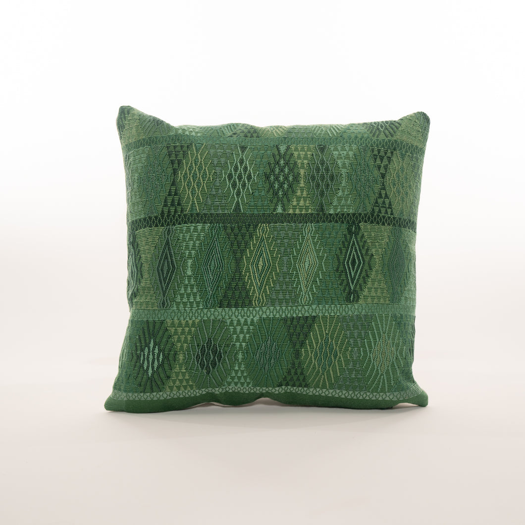 green vintage embroidered guatemalan pillow