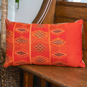 handmade pillow made from vintage guatemalan textiles