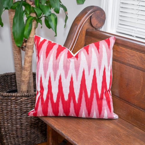 Handmade red and white pillow cover