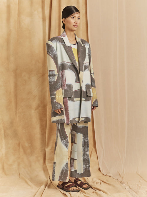 "PADDED SHOULDER OVERSIZED BLAZER / PRINT ""FULL COLOR PAINTING"""