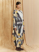 "LINEAL LONG SLEEVE DRESS / PRINT ""FULL COLOR PAINTING"""