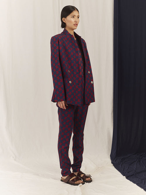 "FITTED BLAZER / PRINT ""CROSSES"""