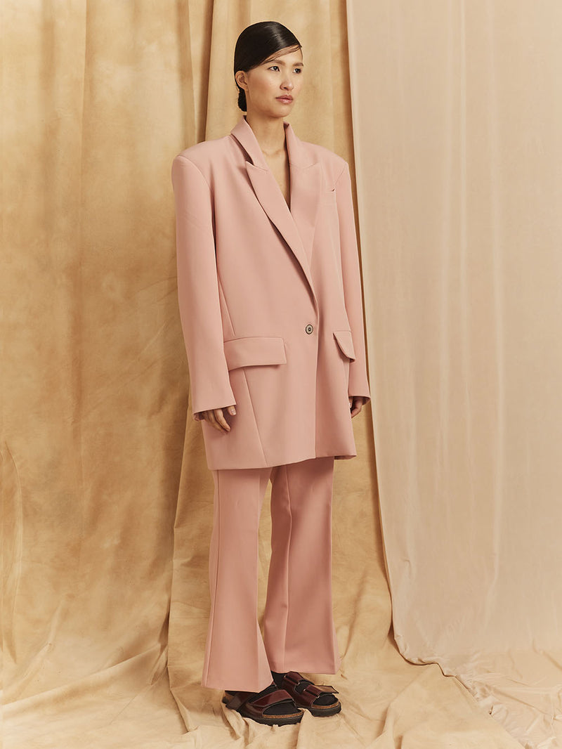 "SUIT FLARED PANTS / PRINT ""PALE ROSE PAINTING"""