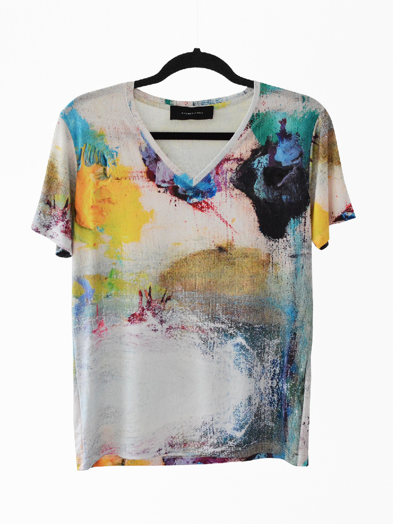 BASIC V-NECK T-SHIRT - MULTICOLOR PAINT