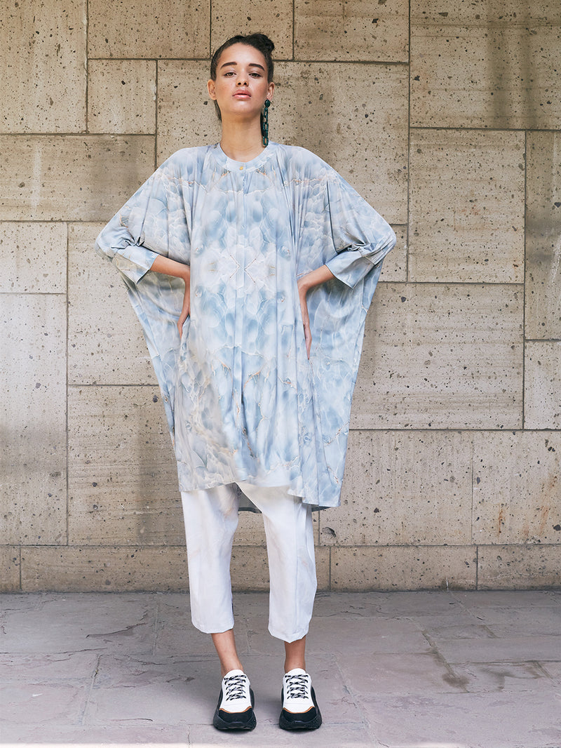 RECTANGULAR LONG BLOUSE - GREEN MARBLE PRINT