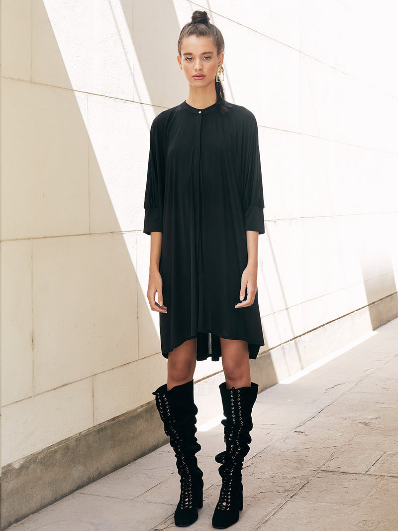 RECTANGULAR LONG BLOUSE - BLACK