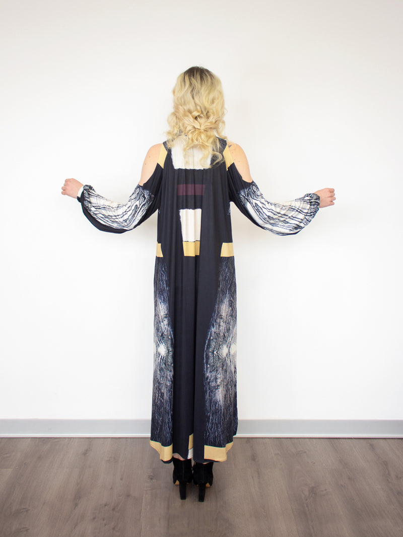 OPEN SHOULDERS LONG BLOUSE - FOAM PAINTING