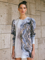 ROUNDED COLLAR TOP/DRESS - MARBLE PRINT