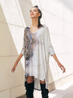 V NECK TOP/DRESS - MARBLE PRINT