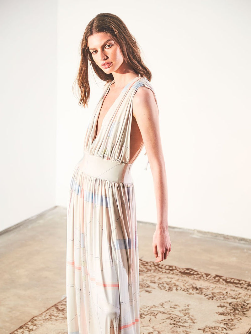 PLUNGE NECK LONG DRESS - ANGLES