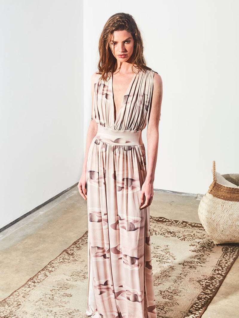 PLUNGE NECK LONG DRESS - NUDE SAND
