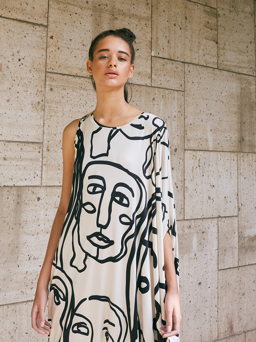 ASYMMETRIC DRESS - FACES PRINT