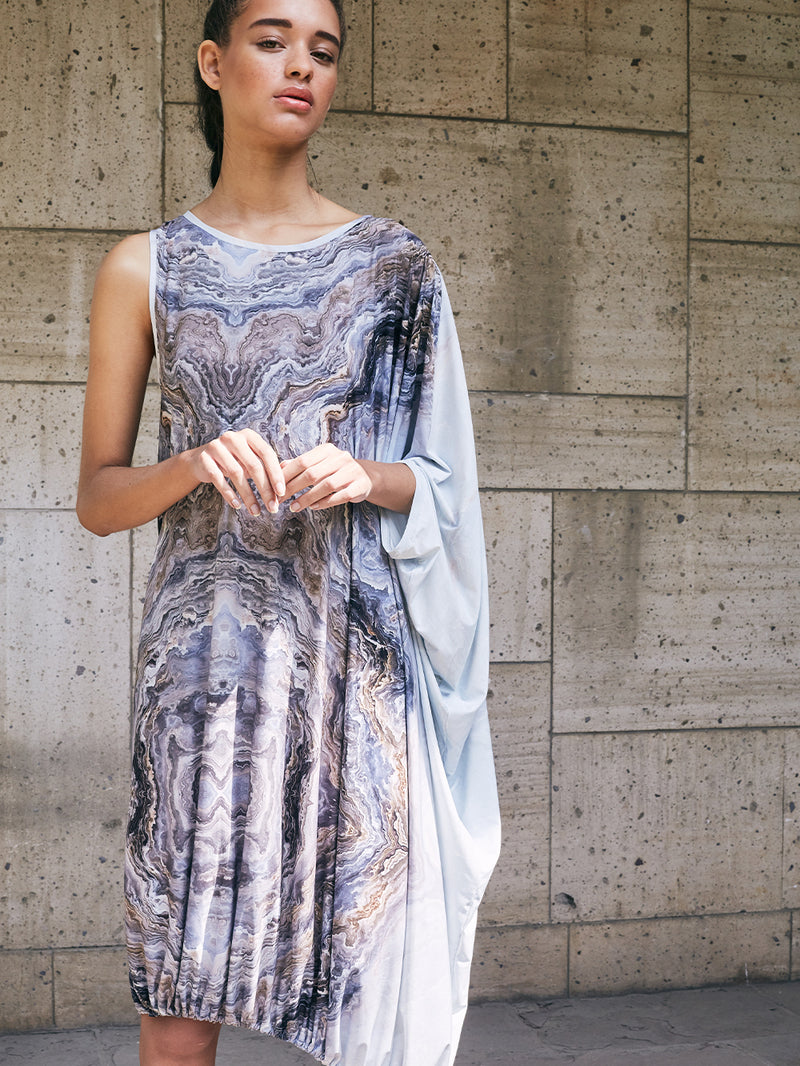 ASYMMETRIC DRESS - MARBLE PRINT