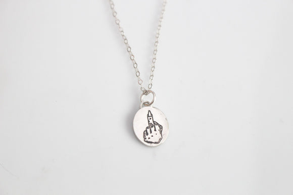 Middle Finger Charm Necklace