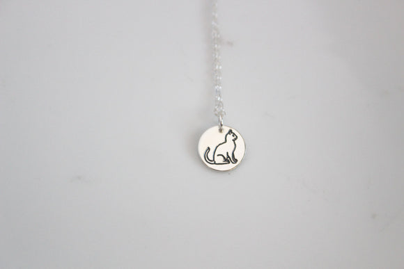 Cat Charm Necklace/ Gold or Silver