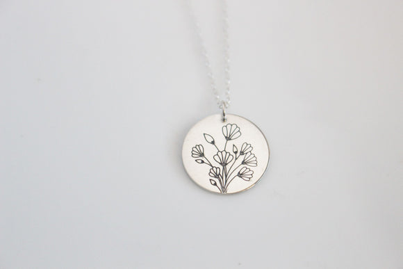 Flower Bouquet Charm Necklace/ Gold or Silver