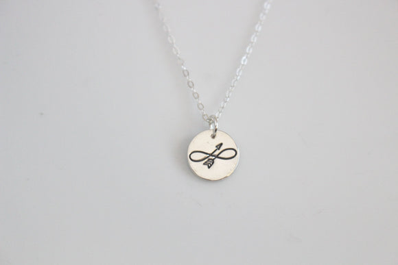 Infinity Arrow Charm Necklace/ Gold or Silver
