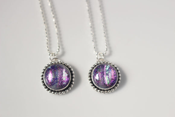 Dichroic Glass Galentine's Day Pair of Necklaces