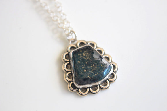 Blue Stone Necklace /  Blue Covellite Stone Silver Jewelry / Metallic Blue Stone Pendant Sterling Silver Necklace
