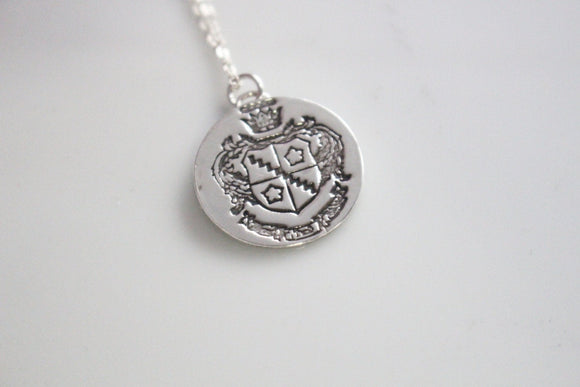 Zeta Tau Alpha Crest Necklace in Silver / ZTA Sorority Jewelry