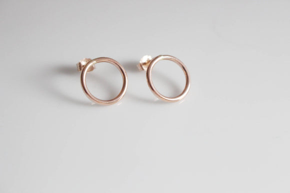 Rose Gold Earrings / Geometric Rose Gold Circle Studs/ Dainty Rose Gold Earrings 14K Gold Fill Hoop Earrings Minimalist Pink Gold Earrings
