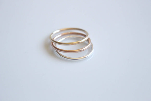 Gold Ring Set Stacking Ring Rose Gold Ring Gift for Her Minimalist Ring Set Wife Gift Mixed Metal Ring Set